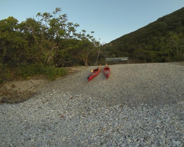 kayaks tied up Whitsundays